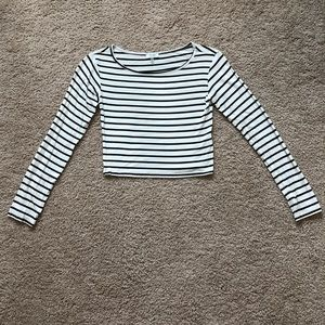 Tobi black and white striped long sleeve crop top
